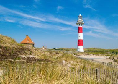 Beacon in sandy dunes of the North Sea. Belgium